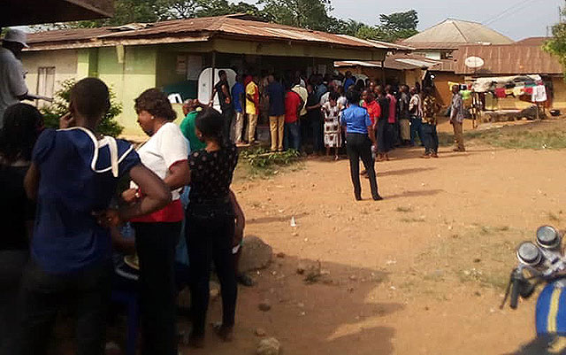 Voting in progress Ekajuk 1 polling unit, Ogoja